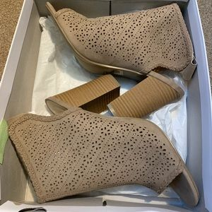 Lauren Conrad Taupe Open-Toe Ankle Boots Size 9.5